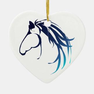 Classic Horse Head Logo in Blues Christmas Ornament