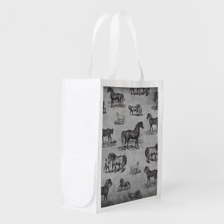 Classic Horse Pattern Grocery Bag