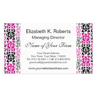 Classic Hot Pink and Black Damask Elements Business Card