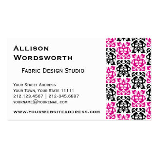 Classic Hot Pink and Black Damask Elements Business Card Template
