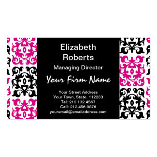 Classic Hot Pink and Black Damask Elements Business Card Templates