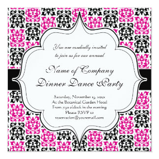 Classic Hot Pink and Black Damask Elements Card
