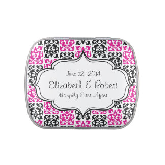 Classic Hot Pink and Black Damask Elements Jelly Belly Candy Tins