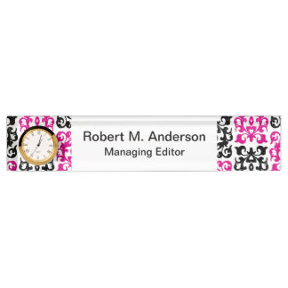 Classic Hot Pink and Black Damask Elements Name Plate