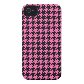 Classic Hot Pink and Black Houndstooth Pattern Case-Mate iPhone 4 Cases