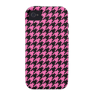 Classic Hot Pink and Black Houndstooth Pattern iPhone 4 Cases