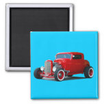Classic  Hot-Rod 2 Inch Square Magnet