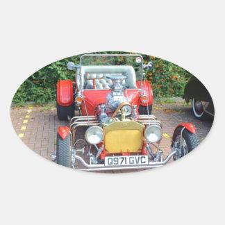 Classic Hot Rod Roadster Oval Sticker