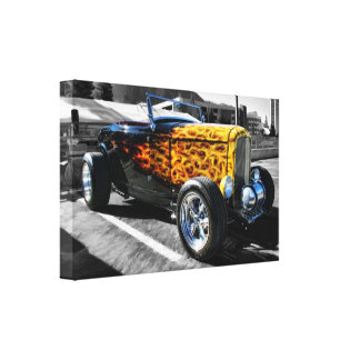 Classic Hotrod on Black and White Gallery Wrapped Canvas