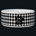"""Classic Houndstooth Pattern Bowl<br><div class=""""desc"""">A pet bowl with a houndstooth pattern in black &amp; white and a black paw print,  which can be customized with your dog&#39;s initial.</div>"""