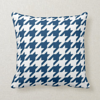 Classic Houndstooth Pattern in Navy Blue and White Pillows
