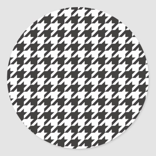 classic houndstooth style print classic round sticker