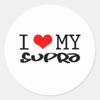 "Classic ""I Love My Supra"" design Classic Round Sticker"