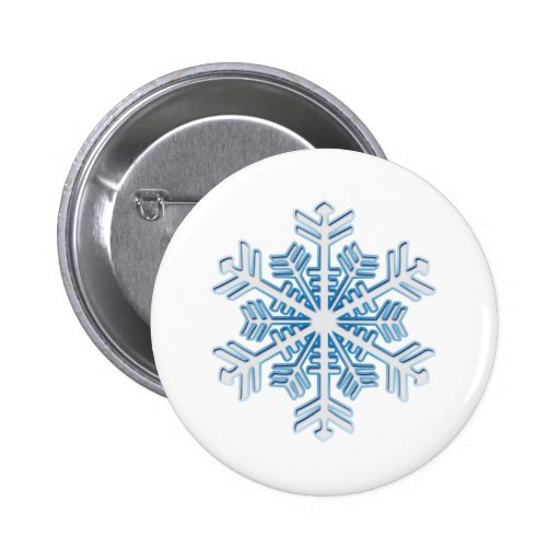 Classic Icy Blue Winter Christmas Snowflake Button