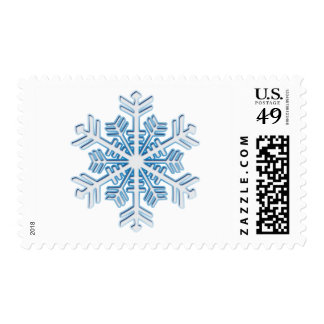 Classic Icy Blue Winter Christmas Snowflake Postage