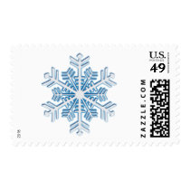 Classic Icy Blue Winter Christmas Snowflake Postage Stamp
