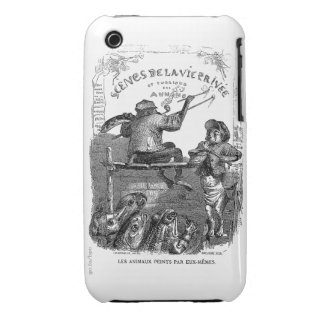 Classic Illustration Animals Painting a Picture iPhone 3 Case-Mate Case
