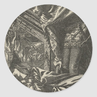 Classic Illustration for The Lady of Shalott Classic Round Sticker