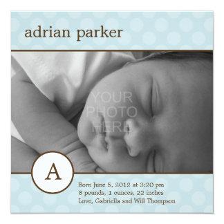 Classic Initial Baby Boy Birth Announcement Custom Invitations