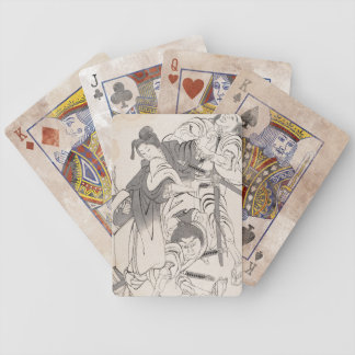 Classic ink painting warriors samurai Hokusai art Bicycle Playing Cards