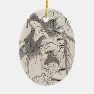 Classic ink painting warriors samurai Hokusai art Ceramic Ornament