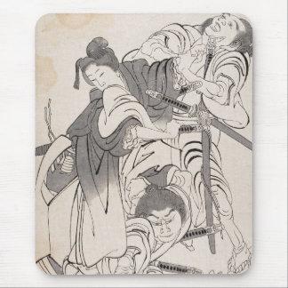 Classic ink painting warriors samurai Hokusai art Mouse Pad