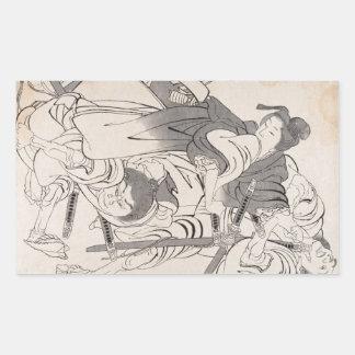 Classic ink painting warriors samurai Hokusai art Rectangular Sticker