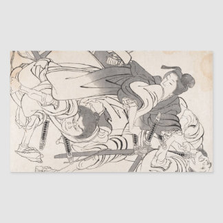 Classic ink painting warriors samurai Hokusai art Rectangular Stickers