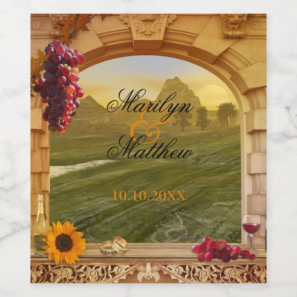 Classic Italian Style Wedding Wine Label