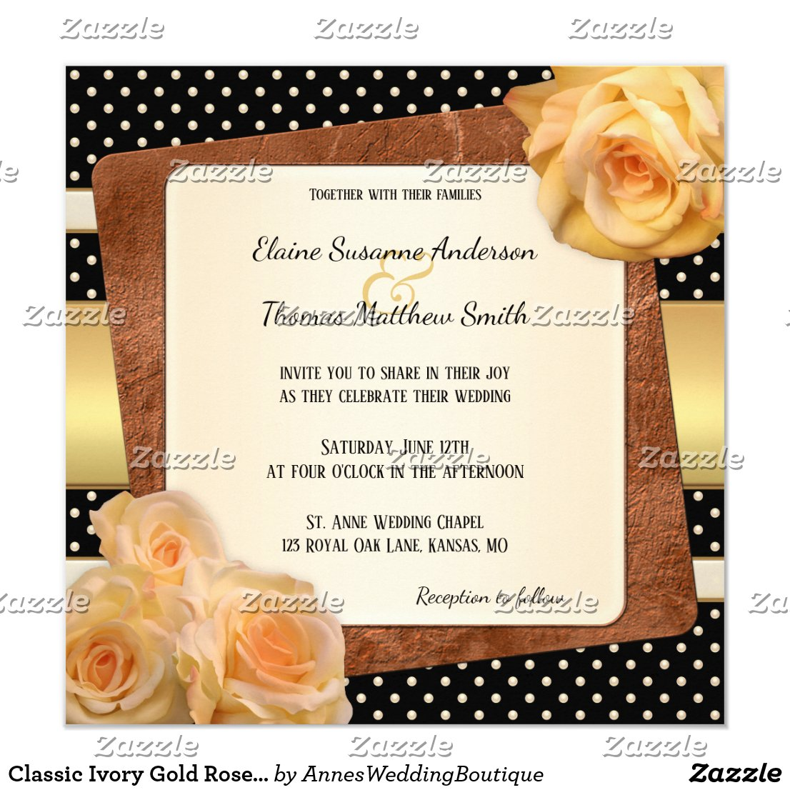 Classic Ivory Gold Roses Wedding Invitation