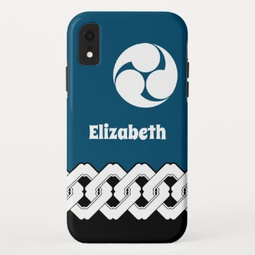 Classic Japanese Chain and Spiral Crest Pattern iPhone XR Case