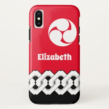 Classic Japanese Chain and Spiral Crest Pattern iPhone XS Case