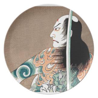 Classic Japanese Legendary Samurai Warrior Art Melamine Plate