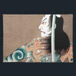 "Classic Japanese Legendary Samurai Warrior Art Placemat<br><div class=""desc"">Classic Japanese Legendary Samurai Warrior Art  vintage, ukiyo, samurai, portrait, japanese, katana, ninja, musashi, miyamoto, tiger, fight, classic, ukiyo e, utagawa, cool, oriental, japan, china, masterprint, old, script, retro, warrior, budo, bushi, spirit, sword, katana, kenjutsu, iado, armor, kanji, east, culture, woodprint, man, decoration, watercolour, ink, tattoo</div>"