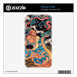 Classic Japanese Legendary Warrior Dragon art Decals For iPhone 4