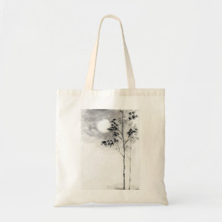 Classic  japanese sumi-e painting art bamboo moon canvas bags