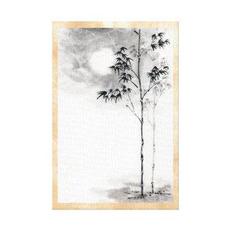 Classic  japanese sumi-e painting art bamboo moon canvas prints