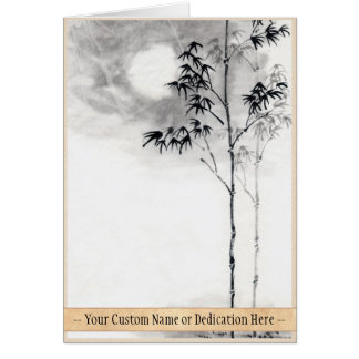 Classic  japanese sumi-e painting art bamboo moon stationery note card