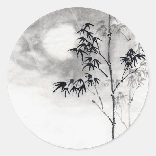 classic japanese sumi e painting art bamboo moon classic round