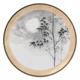 Classic  japanese sumi-e painting art bamboo moon melamine plate