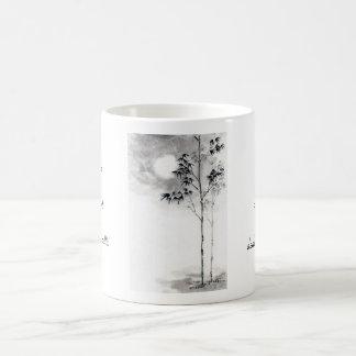 Classic  japanese sumi-e painting art bamboo moon classic white coffee mug