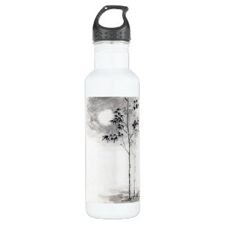 Classic  japanese sumi-e painting art bamboo moon stainless steel water bottle