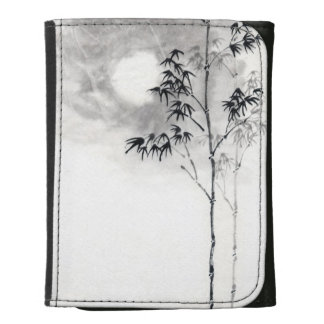 Classic  japanese sumi-e painting art bamboo moon leather tri-fold wallet