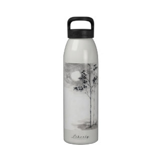 Classic  japanese sumi-e painting art bamboo moon drinking bottle