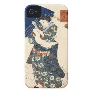 Classic japanese ukiyo-e geisha with umbrella art iPhone 4 cover