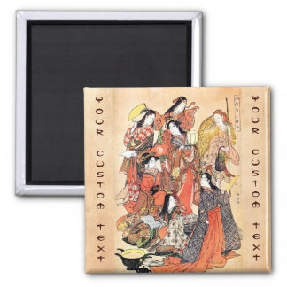 Classic japanese vintage ukiyo-e ladies old scroll 2 inch square magnet