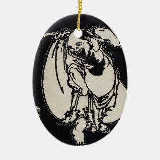 Classic japanese vintage ukiyo-e wandering poet Double-Sided oval ceramic christmas ornament