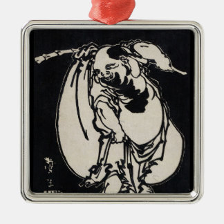 Classic japanese vintage ukiyo-e wandering poet square metal christmas ornament