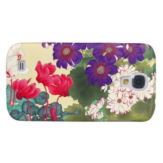 Classic japanese vintage watercolor flowers art samsung galaxy s4 cases