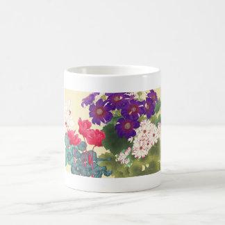 Classic japanese vintage watercolor flowers art coffee mug